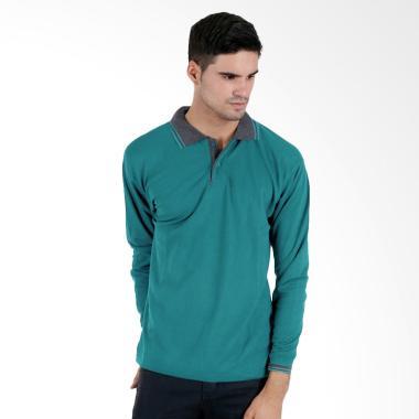 Elfs Shop Lacost Lengan Panjang Kerah Poloshirt Baju Atasan Pria - Tosca