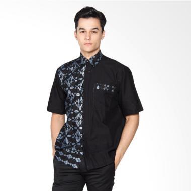 Jogja Batik Reno A Hem Kemeja Batik Pria - Batik Kombinasi Hitam Polos