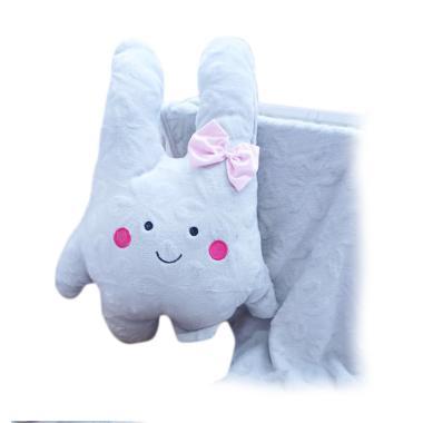 FusionHome Bunny dengan Pita Boneka Selimut - Grey