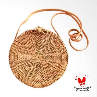 Native Borneo Ate Bulat Polos Tas Selempang Wanita  - Cokelat