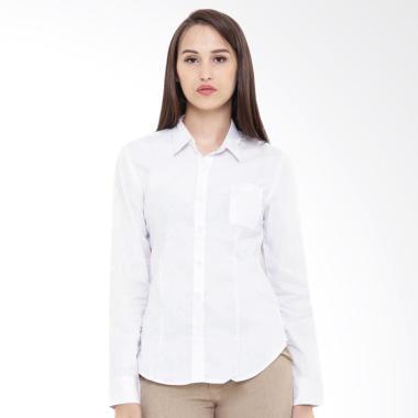 Mobile Power K8397A Ladies Pocket Shirt Kemeja Lengan Panjang Wanita - White