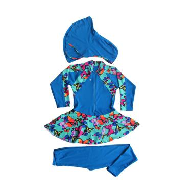 Rainy Collections Muslim Motif Butterfly Baju Renang Anak - Biru