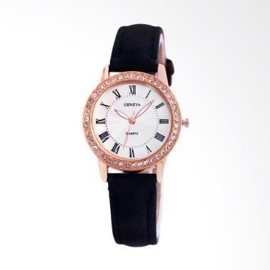 Geneva GN009 Premium Strap Kulit Jam Tangan Wanita- Hitam