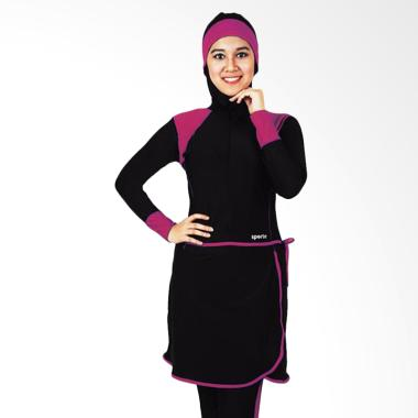 SPORTE Set Pakaian Renang Wanita Muslimah - Hitam Pink [SM 27]