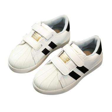 Chloebaby Shop Daldas Stripe LED Sn ... Shoes Sepatu Anak - Black