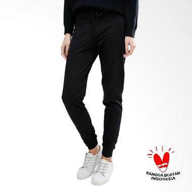 Okechuku Bright Basic Fashion Jogger Celana Wanita - Hitam
