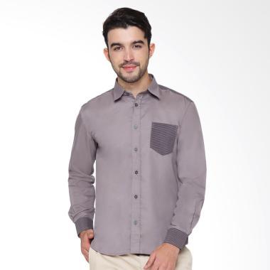Enzy Batik Shirt With Lurik Kemeja Pria - Grey