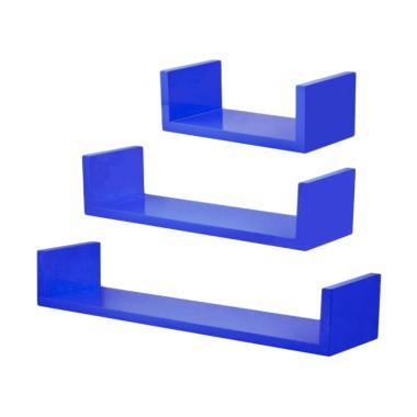 DEcTionS Model U Set Floating Shelves - Biru [3 pcs/40 x 30 x 20 cm]