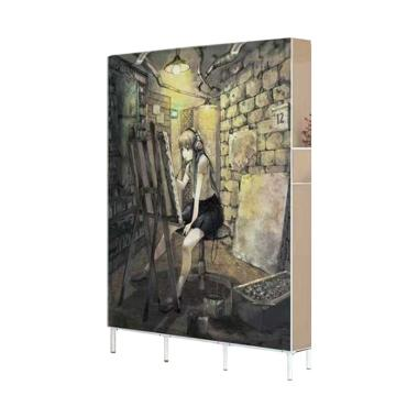 Risen Painting Girl Lemari Portable