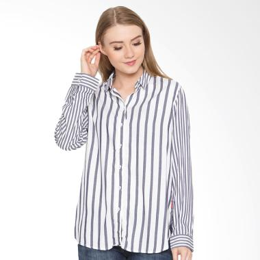 Osella Ladies Woman Shirt Long Zara ... meja Wanita - Black White