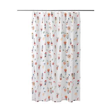 Ikea Motif Berbunga Rosenfibbla Tirai Shower - Putih