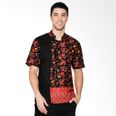 Chef Series Jade Batik Tangan Pendek Baju Koki - Hitam [Size M]