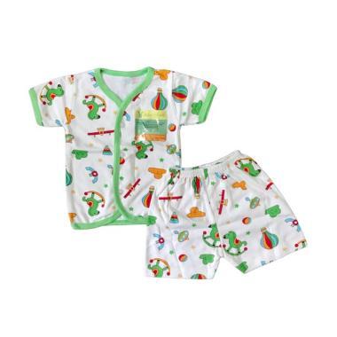 Aruchi Motif Playground Kancing Dep ... n Baju Tidur Bayi - Hijau
