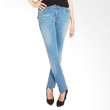 2Nd RED 233289A Slim Fit Wiskers Celana Jeans Wanita - Light Blue
