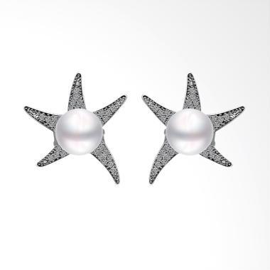 SOXY LKNPLE034 Platinum Pearl Elegant Five-pointed Earrings