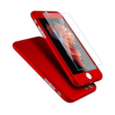 OEM 360 Hardcase Casing for iPhone  ... Red + Free Tempered Glass