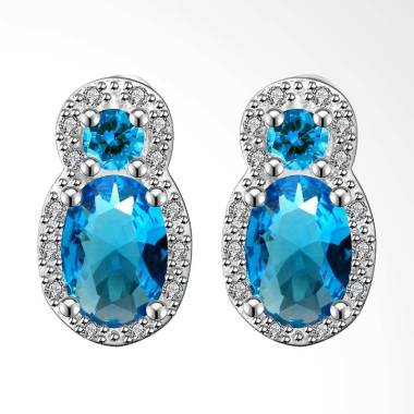 SOXY FVRE011 White Gold Diamond Oval Blue Zircon Earrings Luxury