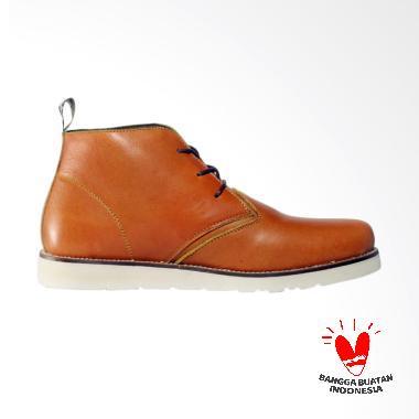 Bradley's Masimo Kulit Boot Sepatu Pria - Tan