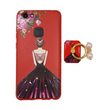 OEM Marcell Sexy Girl Red Dress Ring Mutiara Casing for VIVO V7