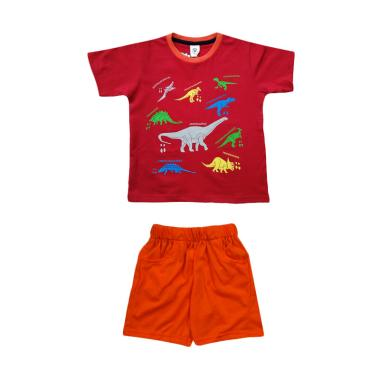 MacBear Kids Kind Of Dino T-Shirt Setelan Baju Anak - Red