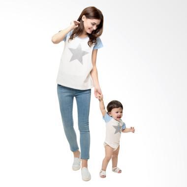 Mooimom Star Nursing T-shirt Couple ... ui Couple Ibu Anak - Blue