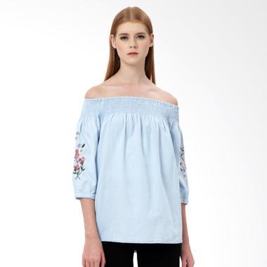 MKY Clothing Embroidery Denim Cotton Blouse Wanita