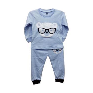Gracie Motif Bear Kacamata Baju Tidur Bayi Laki-laki - Biru Muda 03