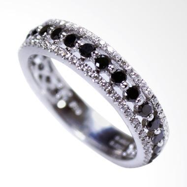 Lavish R15579 Cincin Berlian Eropa Emas Putih [18K]