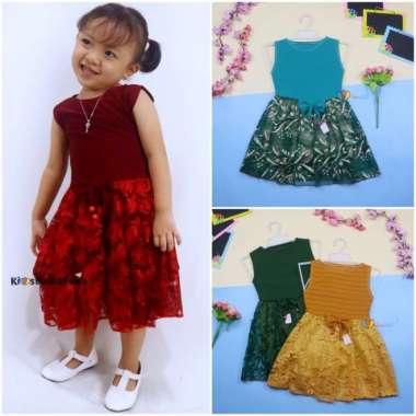 harga Terbaru Dress Zevana Uk 1-4 Tahun  Dres Brukat Kensi Anak Perempuan Gaun - 3-4TH Limited Blibli.com