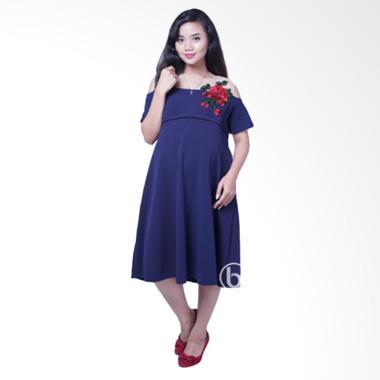 Mama Hamil DRO 827 Rose Agatha Baju Hamil Dress dan Menyusui - Biru