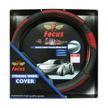 Focus Kulit Sarung Stir Mobil - Hitam Merah
