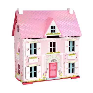 Deluxe Rosebud House with Furniture Rumah Boneka