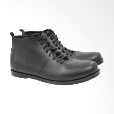 Bebox Boot Kulit Sepatu Pria - Black [5012]