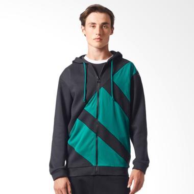adidas EQT FZ Hoody M Hoodie Jacket Olahraga Pria - Black Green [CV8969]