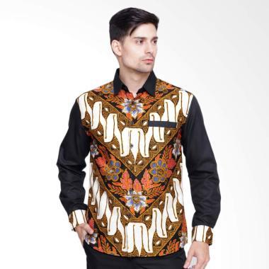 Enzy Batik Sekar Jagat Kemeja Batik Pria - Black