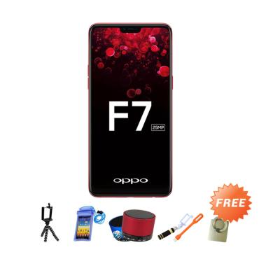 OPPO F7 Smartphone - Red + Free 8 Accessories