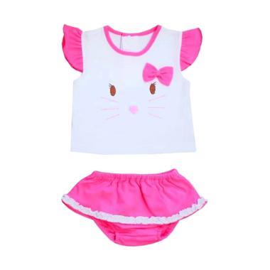 PLEU Kucing Pita Setelan Baju Anak Perempuan - Pink