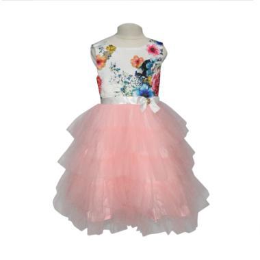 VERINA BABY Tutu Motif Flowers Dress Pesta Anak - Pink