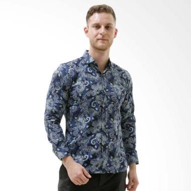 VM Modern Slimfit Kemeja Batik Tangan Panjang Pria - Biru