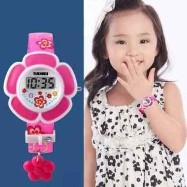 Jam Tangan Anak Perempuan Cewek Murah Original Skmei Casio Anti Air Merah Muda
