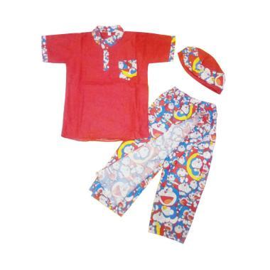 Nayshop Doraemon Sarung Koko Peci Peralatan Sholat Anak - Red