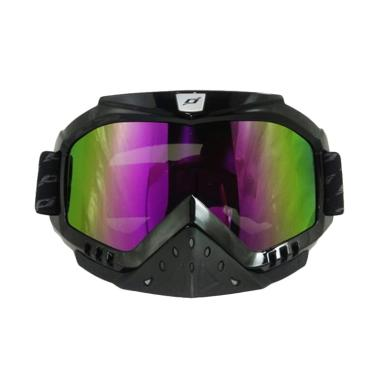 JPX Cross Kaca Goggle Rainbow - Black Gloss
