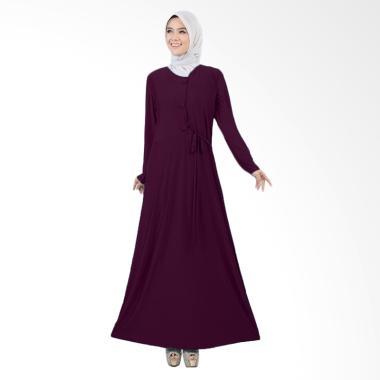 Jfashion Tiara Maxi Variasi Kancing Besar Long Dress Gamis - Ungu