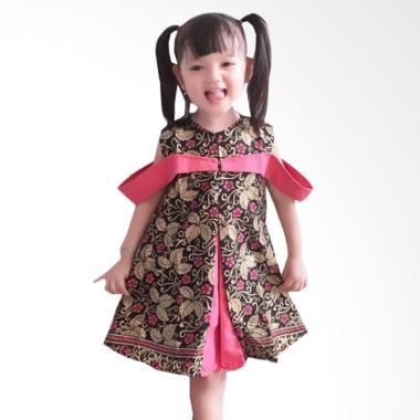 Welan Batik Motif Lp08 Zalfa Kebaya Dress Anak Pink