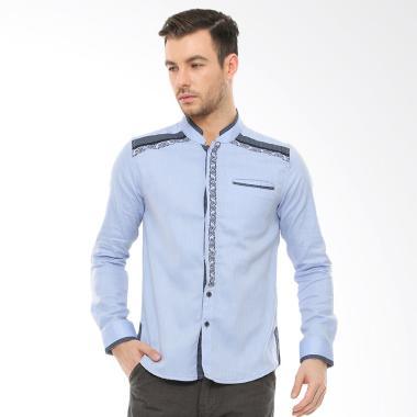 LGS Motif Shoulder Slim Fit Baju Koko Pria - Biru
