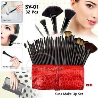 harga Unik 32PCS Set Brush Make Up Kuas Kecantikan Bulu Sintetis Brushes SV-01 - Merah Diskon Blibli.com