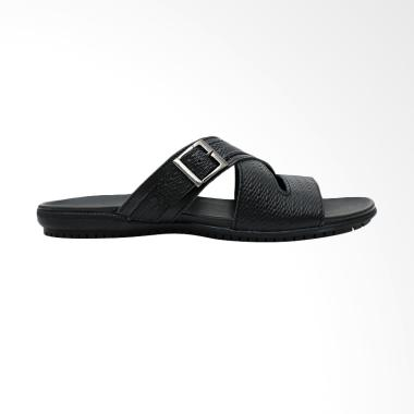 Gino Mariani Donathan Exclusive Cow Leather Sandal Pria - Black
