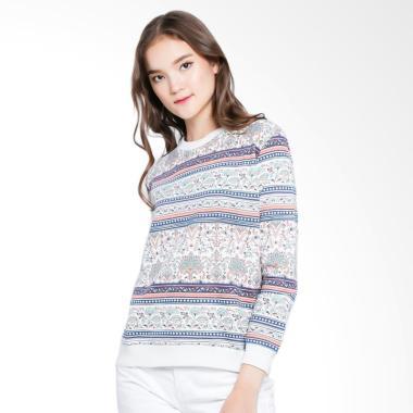 Heath Sweat Shirt Full Print Tribal ... r  Sweater Wanita - Cream