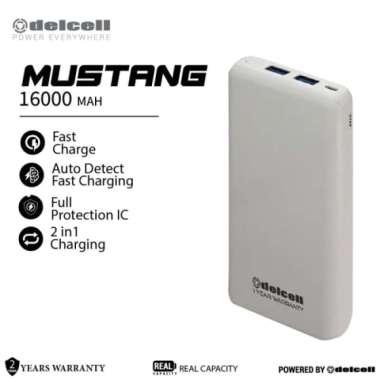 Promo Delcell MUSTANG Powerbank 16000mAh Real Capacity Fast Charging - Putih Diskon