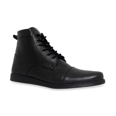D-Island Shoes Office High Loafers Sepatu Pria - Black